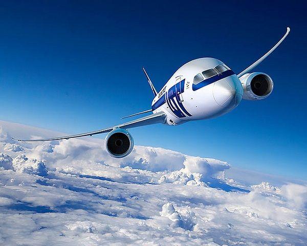 Пассажирский самолет в воздухе