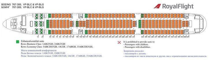 Схема посадки в салоне Boeing 767-300