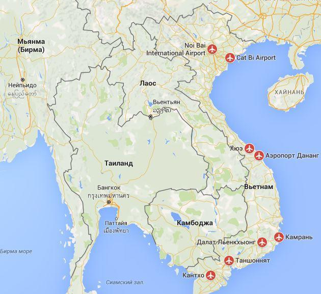 Карта Вьетнама с указанием основных аэропортов