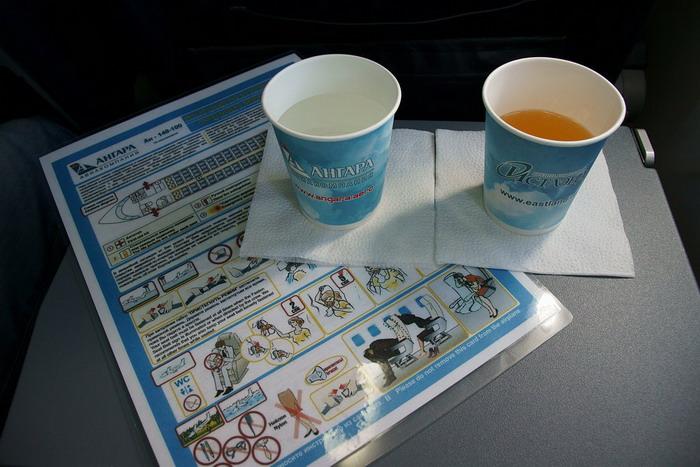 Напитки на борту самолетов авиакомпании «Ангара»