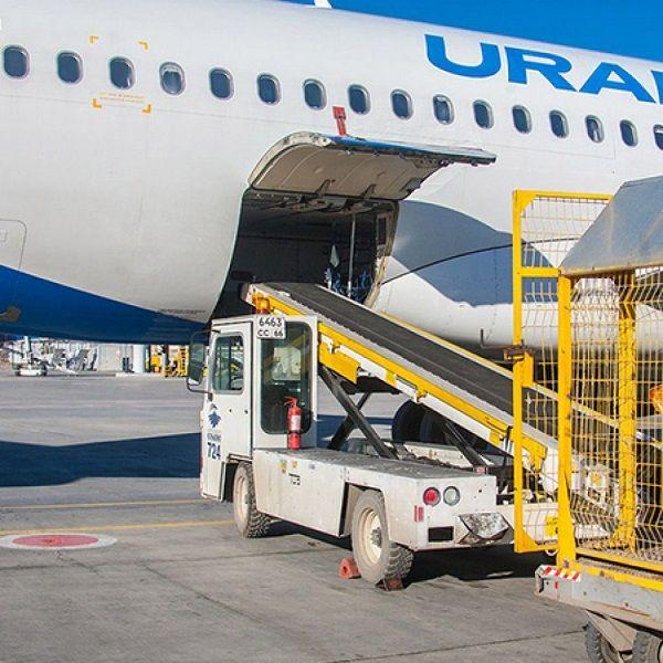 Погрузка багажа на борт самолета Уральских Авиалиний
