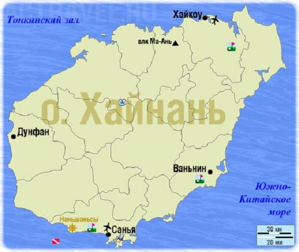 Аэропорты острова на карте