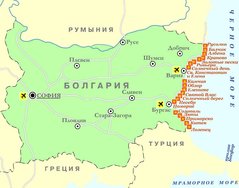 Аэропорты на карте Болгарии