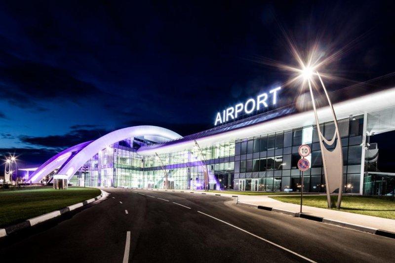 Вечерний аэропорт города Белгород