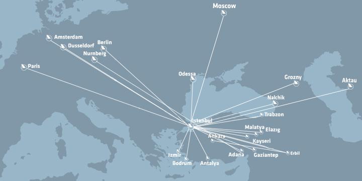 Карта основных маршрутов «Onur Air»