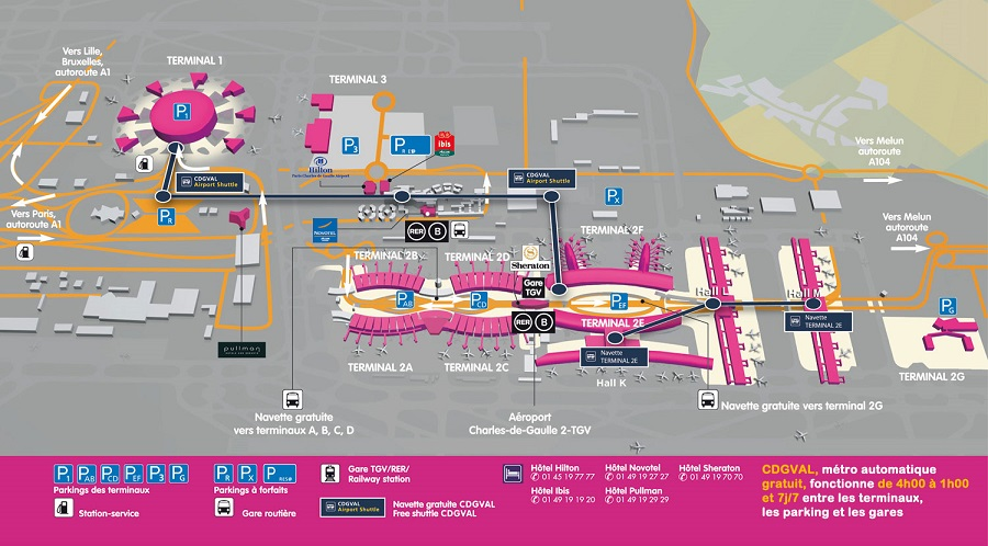 Схема аэропорта Шарль Де Голль