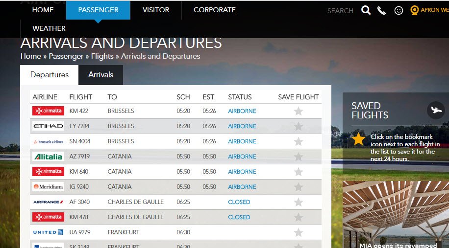 Онлайн-табло аэропорта Лука