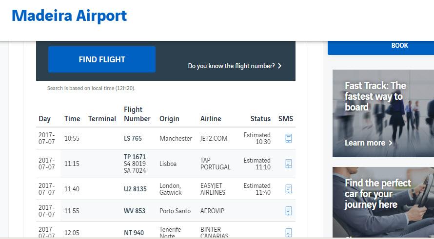 Онлайн-табло аэропорта Фуншал