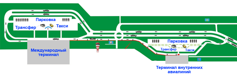 Схематичное расположение терминалов аэровокзала