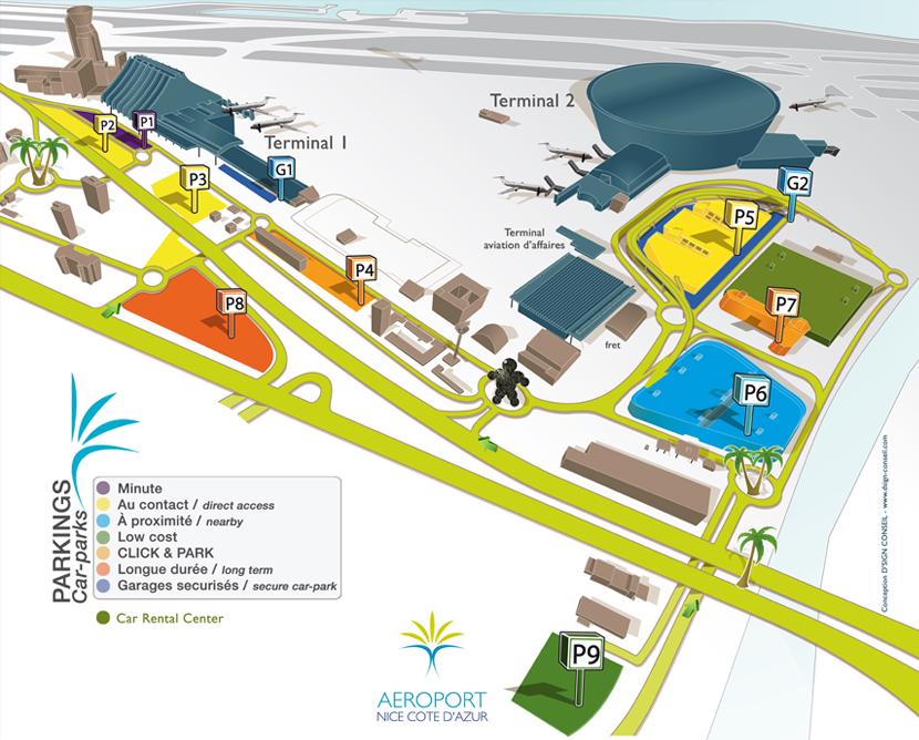 Схема аэропорта города Ницца