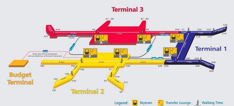 Терминалы аэропорта на схеме