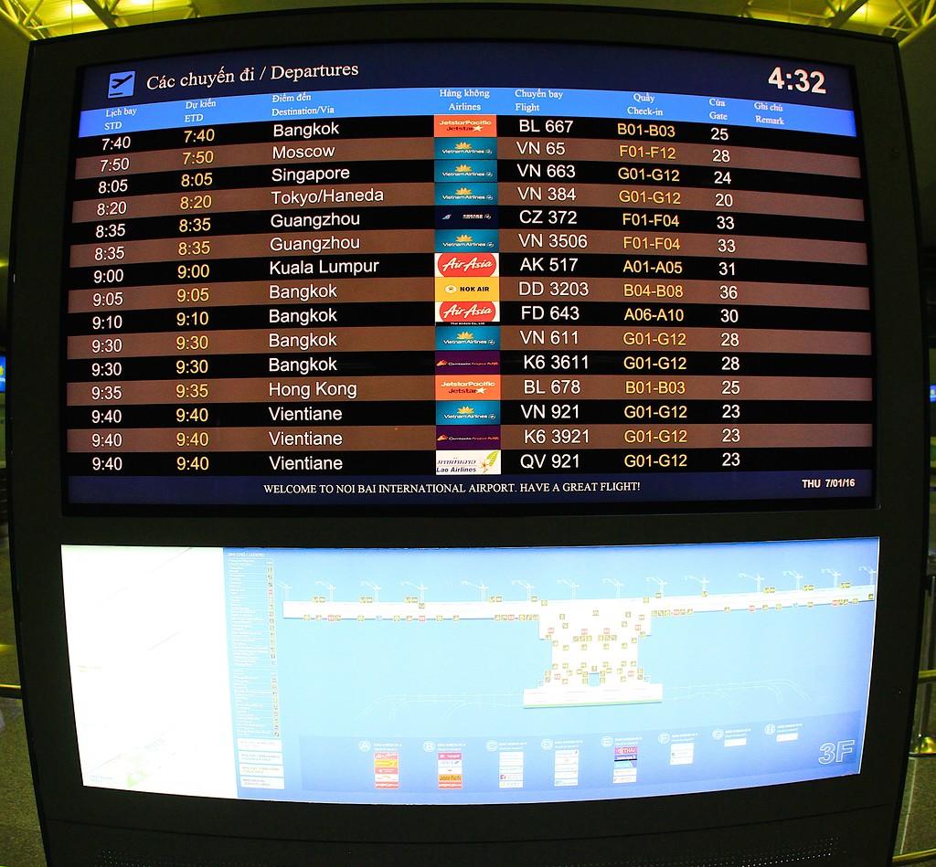 Табло информации в новом терминале