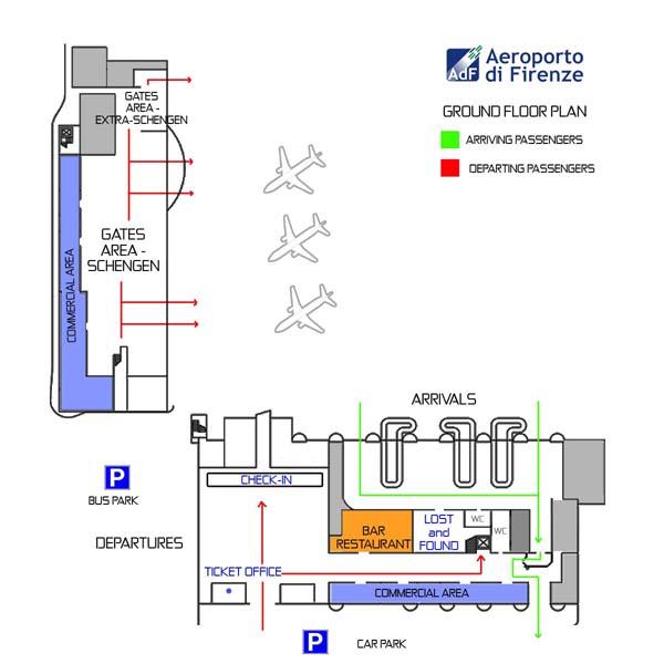 Схема 1го этажа аэропорта Флоренции