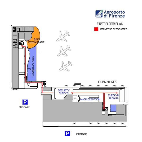 Схема 2го этажа аэропорта Флоренции