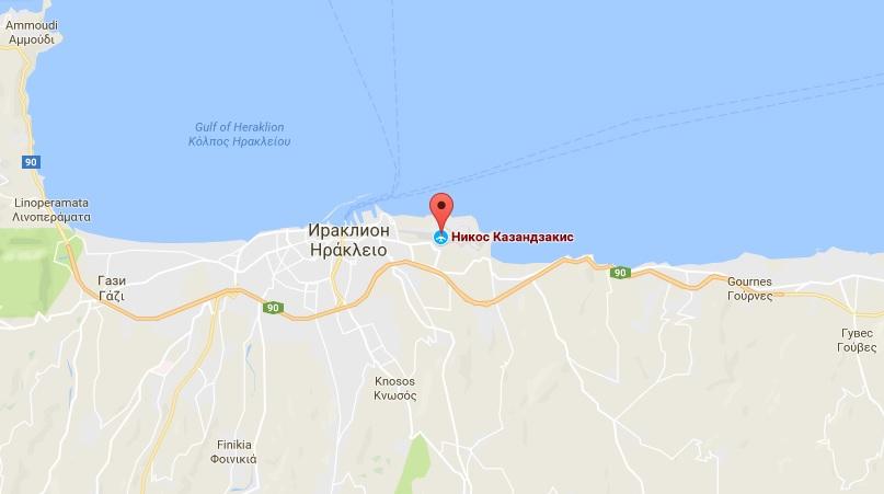 Аэропорт Ираклион «Никос Казандзакис» на карте Крита