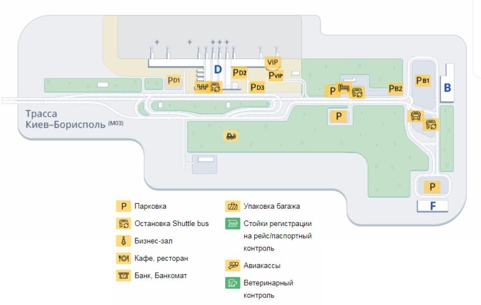 Схема аэропорта «Борисполь»
