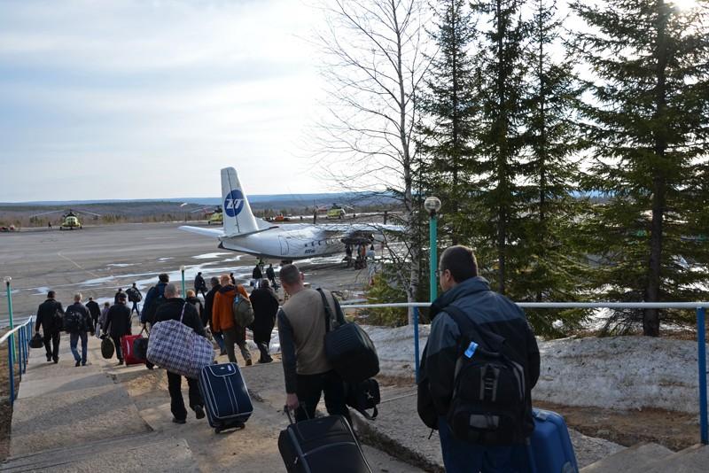 Посадка на самолет в аэропорту Усть-Кут