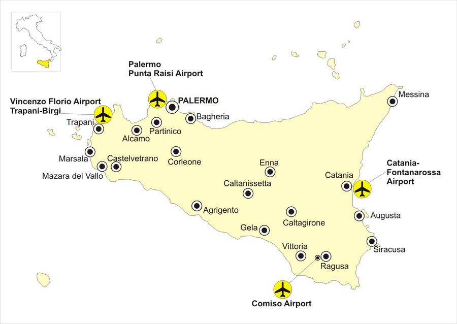 Аэропорты Сицилии на карте