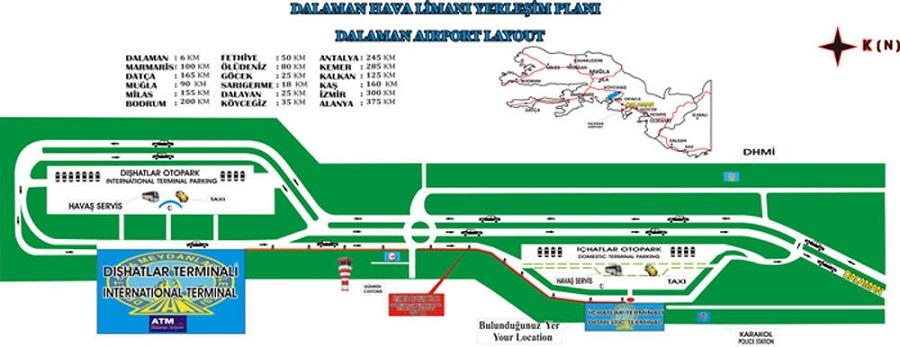 Общая схема аэропорта Даламан