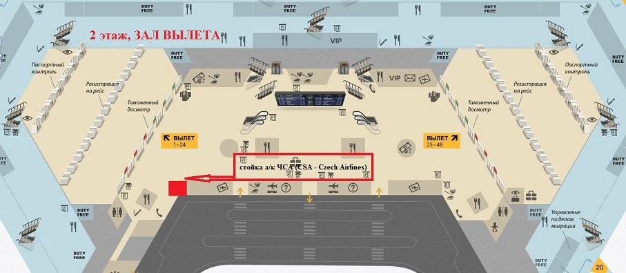 Расположение внутренних служб аэровокзала