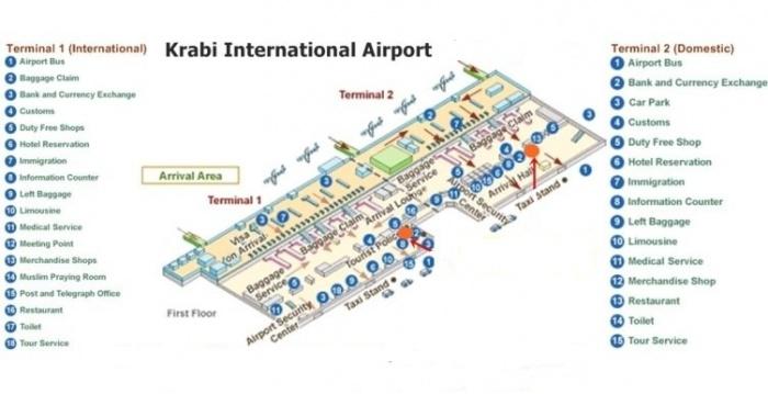 Схема аэропорта Краби