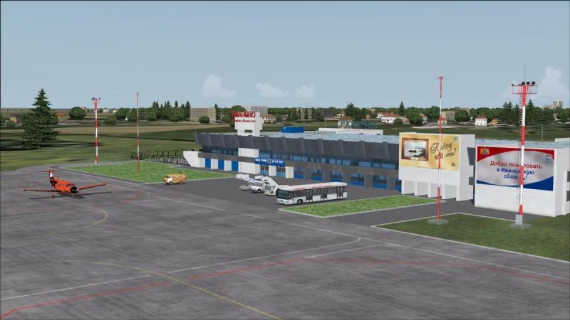 Вид здания аэропорта Иваново с летного поля