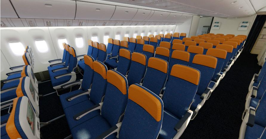 В салоне самолета, эконом-класс