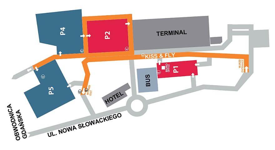Схема парковок аэропорта Гданьск