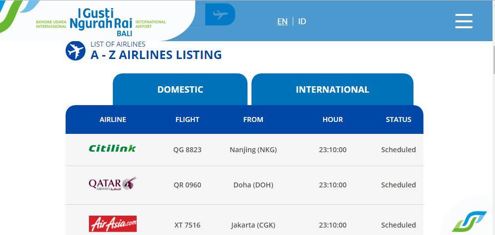 Онлайн табло аэропорта Денпасар
