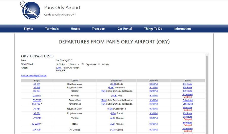 Онлайн табло аэропорта Орли