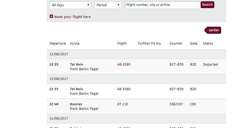 Так выглядит онлайн табло аэропорта Тегель