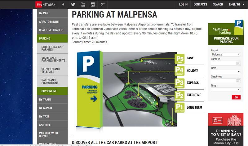 Парковки в аэропорту Мальпенса