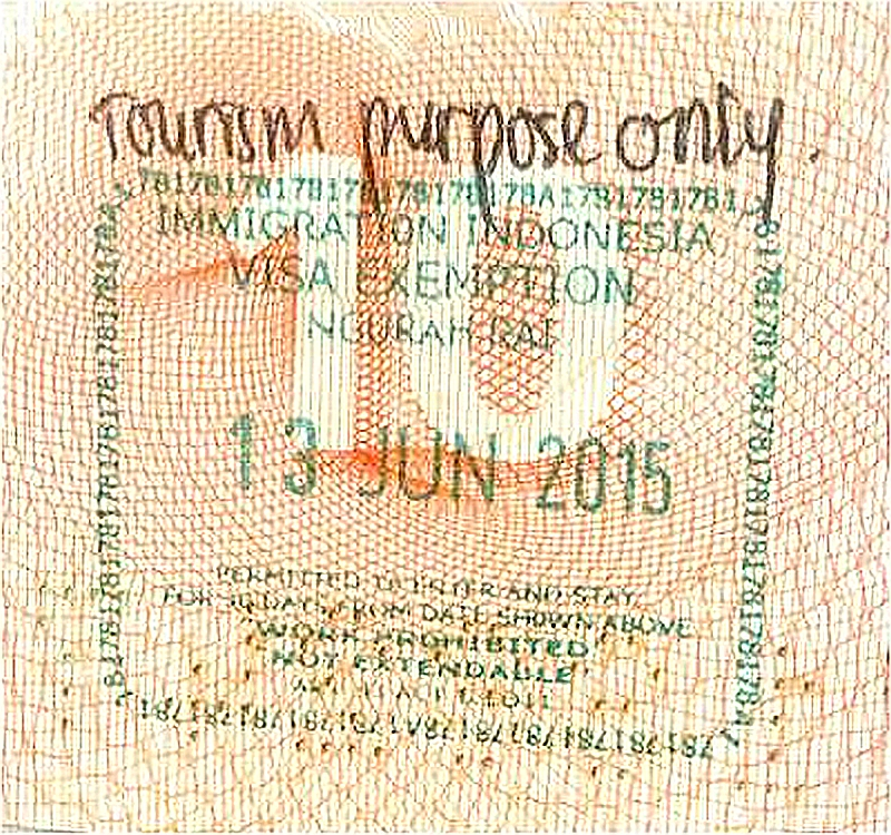 Штамп о разрешении пребывания в Индонезии без визы на 30 дней
