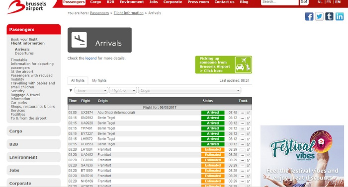 Так выглядит онлайн табло аэропорта