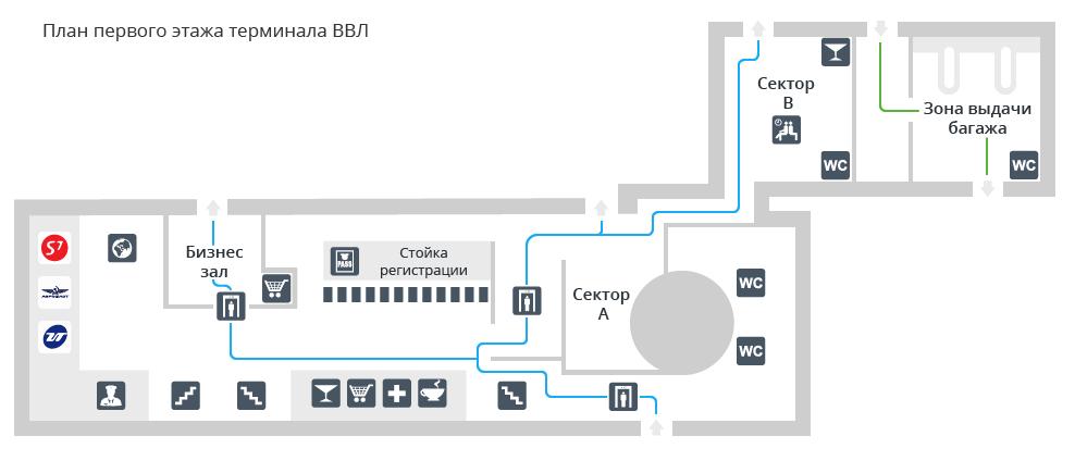 Схема первого этажа аэропорта Гумрак Волгоград (внутренний терминал)