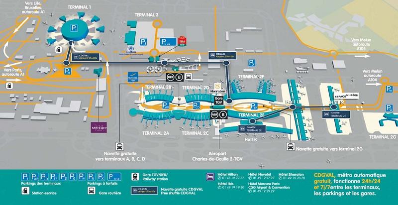 Общая схема парижского аэропорта Шарль де Голль