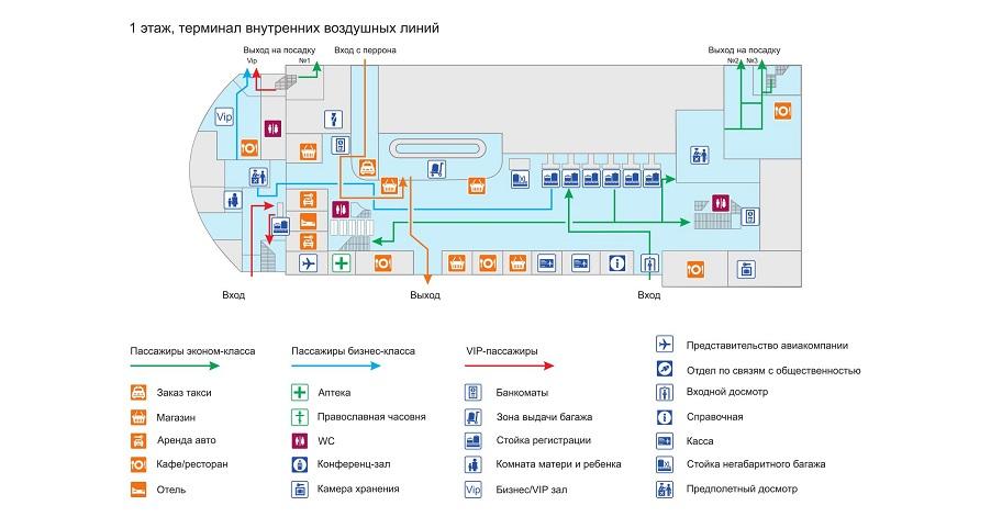Схема 1 этажа внутреннего терминала