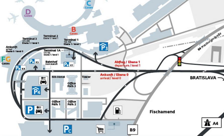 Места парковок в венском аэропорту