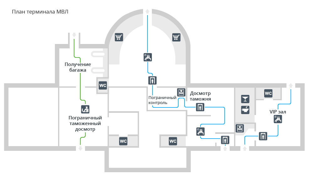 Схема международного терминала аэропорта Гумрак Волгоград