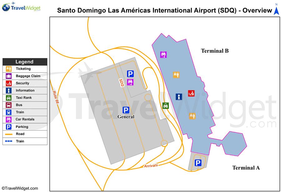 Схема аэрокомплекса в Санто-Доминго