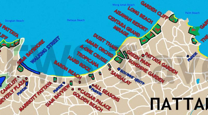 Расположение отелей на курорте Паттайи
