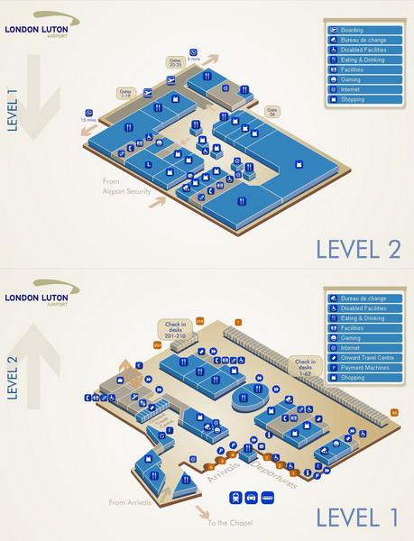 Схема аэровокзала Лутон