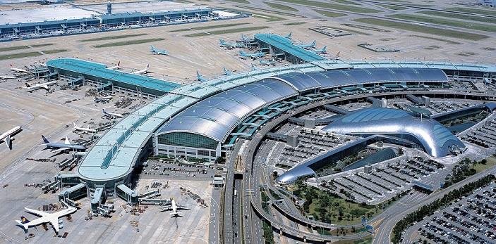 Международный южнокорейский аэровокзал Инчхон, вид с самолета