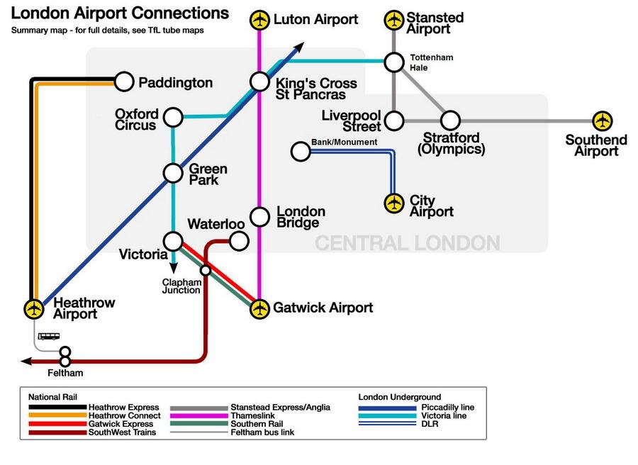 Аэропорты Лондона представлены на карте