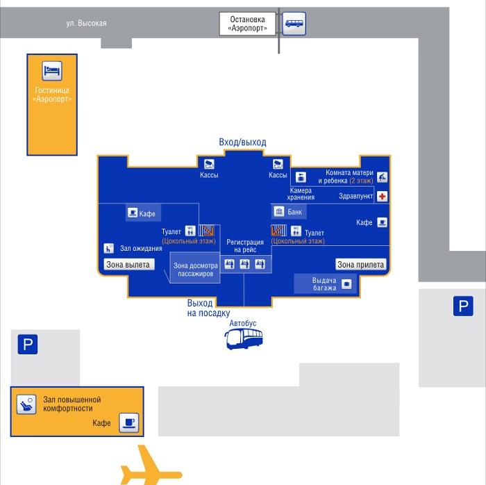 Схема внутренних помещений аэропорта