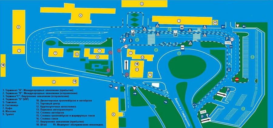 Схема внутреннего расположения терминалов