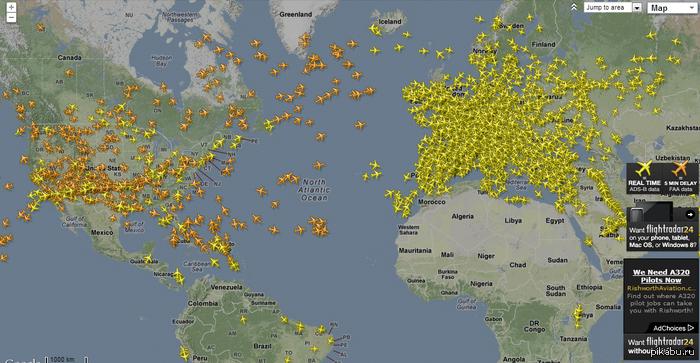 Самолеты в виде пиктограмм на карте
