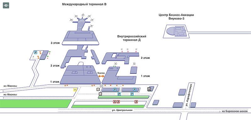 Схема парковки автомобилей во Внуково