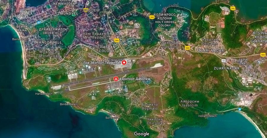 Вид сверху на карту с аэропортом