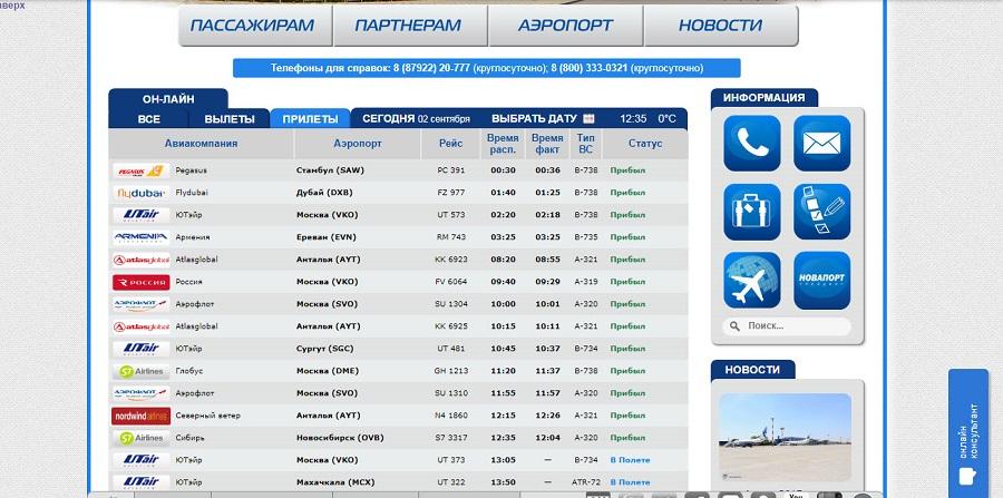 Онлайн табло аэропорта